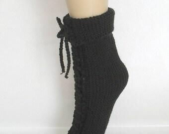 Slippers of night Black wool