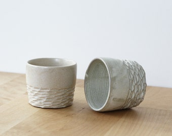 Duo of coffee cups in sandstone 125 mL - ceramic - handcrafted