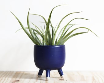 Walking blue pot - planter - ceramic craft