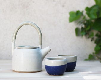Teapot and these two cups - handcrafted ceramic - stoneware