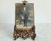 Photo frame bronze frame chiseled flower Art Nouveau-21352