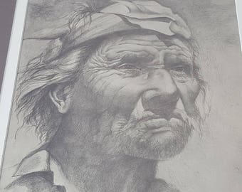 Indian antique engraving by Rick Forbes Walnut frame