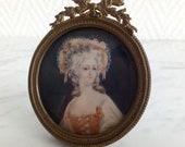 Miniature sur ivoire dame de qualité cadre Louis XV bronze - 21360