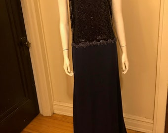Navy Blue Sequin Evening Prom Dress