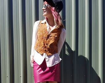 Vintage | Leather Vest | Flower Printed Tan Leather