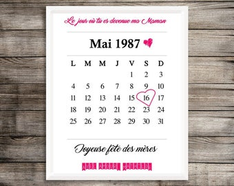 """A4 poster personalized - """"The day where you're my mom"""" - personalized mother's day gift"""