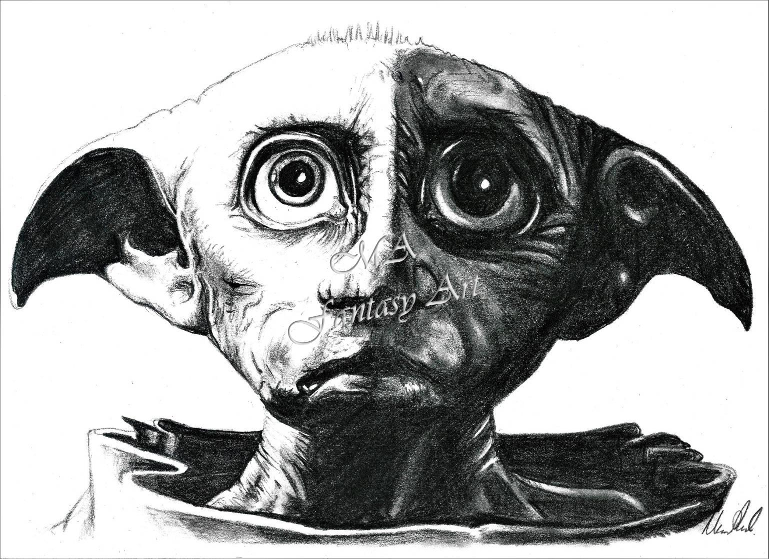 dobby bleistift portrait druck harry potter harry potter | etsy