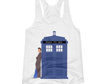 Doctor Who Tenth Doctor on TARDIS Women's Racerback Tank