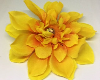 Yellow hair flower etsy yellow hair flower yellow hair clip spring summer hair flower mightylinksfo