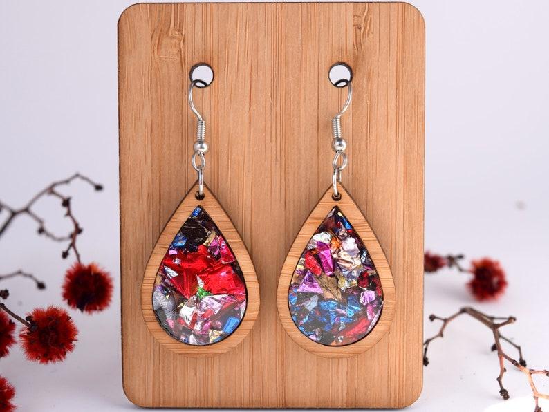 Kaleidoscope Teardrop Earrings; modern wood acrylic statement earring