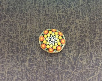 Mandala Stone Little Sun - handpainted mandala-stone as a gift for a loved one, for meditation, yoga or decoration