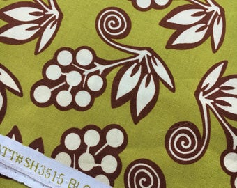 "Ginger Blossom by Sandi Henderson for Michael Miller. Avocado blossom buds. Remnant measures 9x42"""