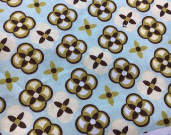 "Ginger Blossom by Sandi Henderson for Michael Miller. Tortoise plaid in aqua. Remnant measures 26x42"""