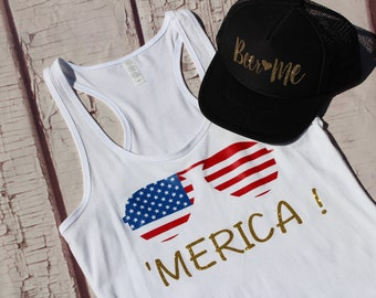4th of July shirt//Merica Tank Top//Women's Tank Top//Independence Day//Ladies Tank Top//Patriotic Tank Top