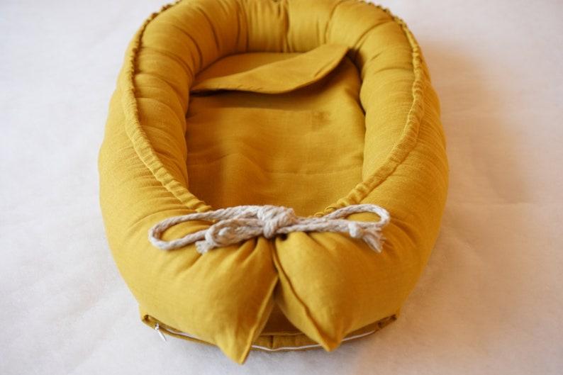 Mustard LINEN Baby Nest Baby Nest Bed Linen Baby Gift image 0