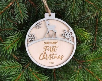 Personalised Name First Christmas Reindeer Custom Bauble decoration, Christmas Gift for Mom, Perfect Gift, C15