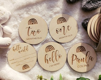 Baby Monthly Milestone Wood Discs For Baby 1st Year Photo Prop | Milestone Age Signs | Newborn Shower Gift | Wooden Card Marker, MC9