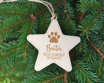 Custom Name Pet's Christmas Ornament You Left a Paw Print on Our Hearts, Dog Custom Christmas Pendant Gift for Pet Lovers, A3