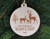 Christmas Gift for Mom and Dad CHRISTMAS Tree Bauble Pendant Decor Gift First CHRISTMAS as Mummy and Daddy Cute Reindeer Family, C23