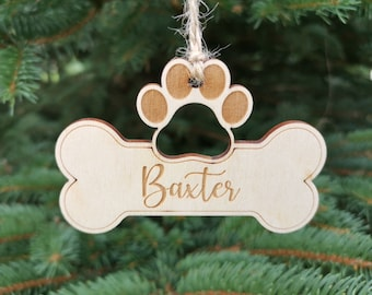 Dog Christmas Ornament Bone Paw Shape with Laser engraved Custom Name, Dog Custom Christmas Decoration Gift for Pet Lovers, A6