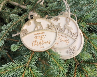 PERSONALIZED Christmas Tree Bauble CUSTOM Name Ideal Gift for Family and Friends Wooden Christmas Pendant, CX