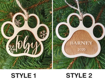 Personalized Dog Christmas Tree Bauble with Name, Dog Custom Name Christmas Decoration, A2