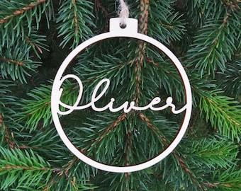 Custom Name CHRISTMAS baubles set Personalized name ornaments, Wooden hangings PERSONALISED gift, Laser cut snowflakes, C5