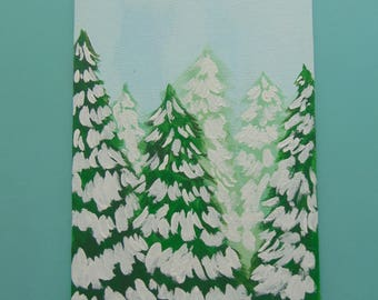 Snowy Woods - Acrylic Painting, Canvas Panel