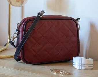 Quilted burgundy and navy leather clutch Bettina R French Craftsmanship