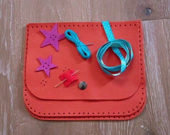 Kit leather bag red coral for child to make from 6 years