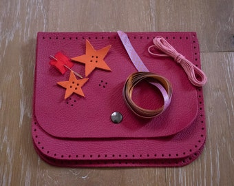 Kit leather bag pink Peony for child to make from 6 years
