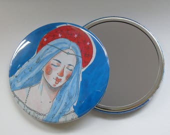 Illustrated Pocket Mirror/ Compact Mirror 76mm inspired by 'Vanity' by Frank Cadogan Cowper