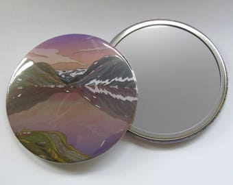 Illustrated Pocket Mirror/ Compact Mirror 76mm Djupvatnet Lake in Geiranger, Norway