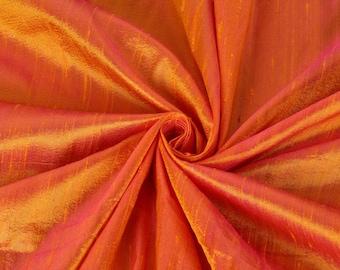 Pure Silk Fabric, Pure Dupioni Silk Fabric, Silk Fabric, Indian Silk Fabric, Orange Silk Fabric