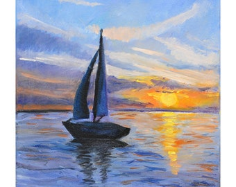Sea scape original oil painting  home decor boat on the sea,  sunset