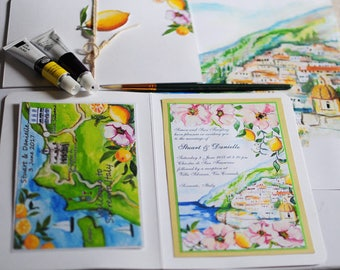 Hand painted, watercolour lemons Italian Wedding Map