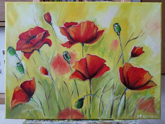 Poppies oil painting poppy painting red poppy original oil etsy image 0 mightylinksfo