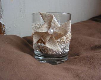 Lanterns grinder, 2 shot glasses glass diverted, linen and hemp