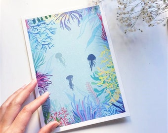 Jelly Fish Ocean Art Print, coral illustration, coral a5 print, jelly fish print, ocean plants print, ocean lovers print, jelly fish