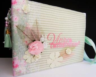 Album mariage - Album photos mariage - Fleurs, papillons - Rose, vert, blanc et or - Fait main