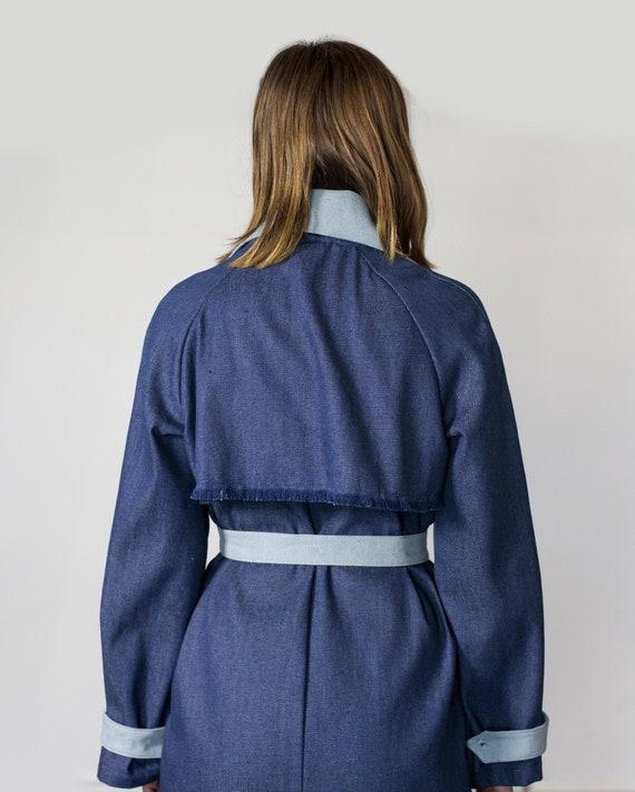 Dark Up Long Indigo Trench Denim Denim Coat Button Pocket Blue Denim Trench Blue Light Trench Button Coat Dress Denim Coat Down Denim wOxUX1zOq