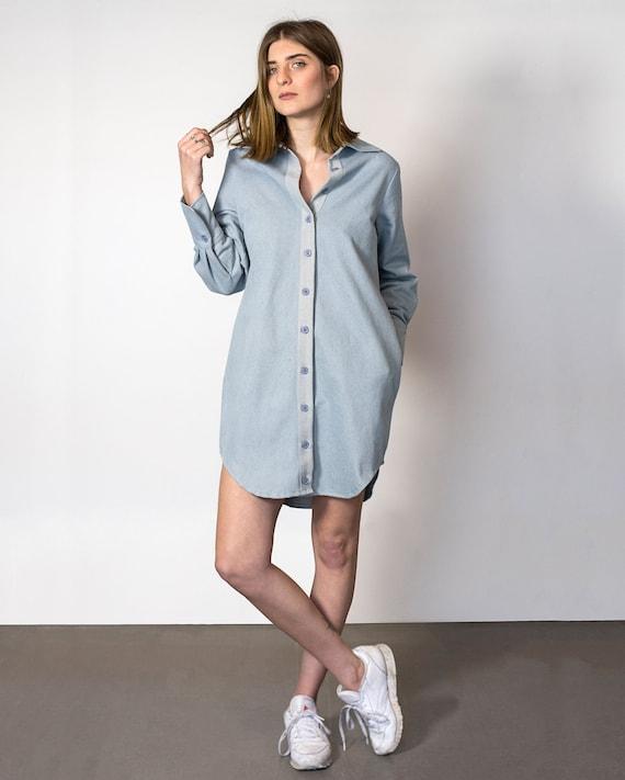 Denim Shirt Dress Button Up Dress Women Shirt Dress Blue   Etsy