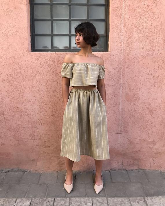 3039f06e341 Khaki Off Shoulder Crop Top Women Summer Linen Top Boho   Etsy
