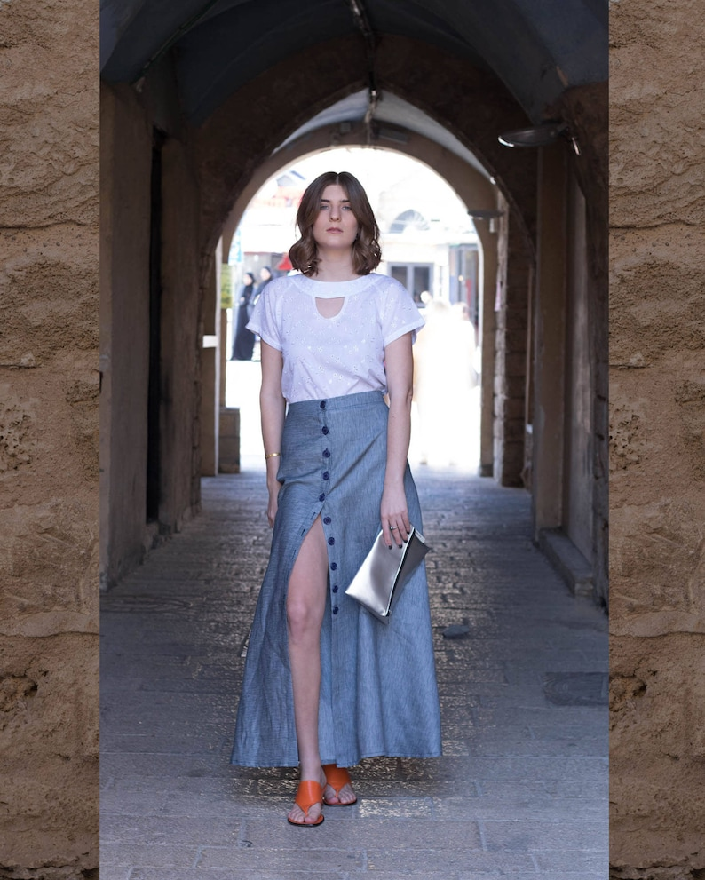 f94b97be718e Blue Stripe Maxi Skirt High Waist Button Skirt Boho Stripe