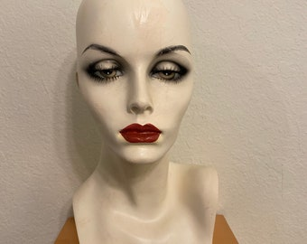 Wig Stand Head Canvas Floral Covered Mannequin Pale Green Display Dummy