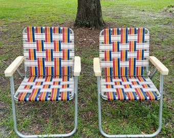 Two Lawn Chairs  Aluminum Webbed Folding Outdoor Woven Beach Lawn Chairs Sun Terrace at Florida Classics
