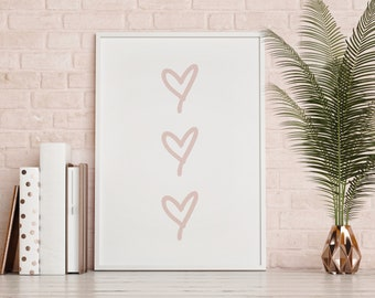 Awesome Hearts Girly Wall Print, Simple Home Decor, Quote Print Bedroom,  Inspirational Quote Poster, Cute Home Decor, Modern Wall Art, Gift