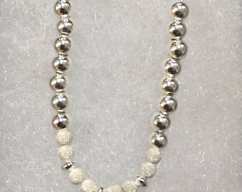 Sterling Silver Beaded Necklace with Adjustable Clasp