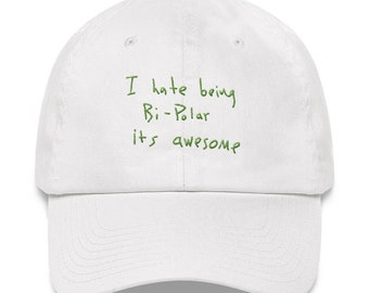 d172550983121 I Hate Being Bi-Polar It s Awesome Kanye West Ye Album cover 2018 Wyoming Embroidery  Dad hat cap