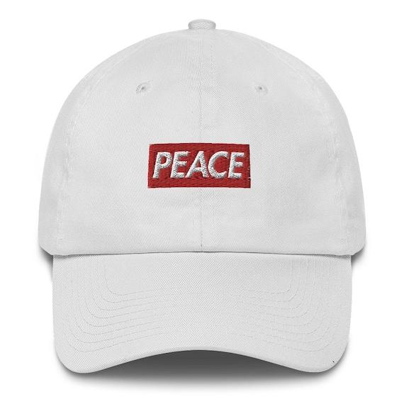 ad2d7bf3ad98f Peace Bogo Made in USA Dad Cap Cotton Hat Box logo Supreme